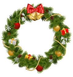 Christmas Wreath with Golden Bells vector image vector image
