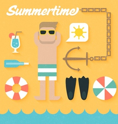 Flat Icons Set of Summer Holiday vector image vector image