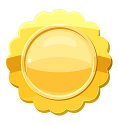 Gold circle metal badge icon cartoon style vector