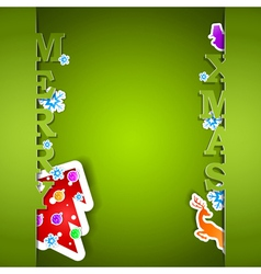 Merry Xmas green card eps10 vector image vector image