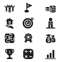Silhouette Business goal Concept icons set vector image