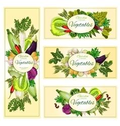 Vegetables organic vegetarian food banners vector image vector image