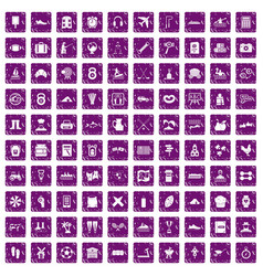 100 activity icons set grunge purple vector