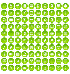 100 weather icons set green circle vector