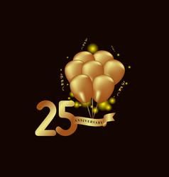 25 year anniversary gold balloon template design vector