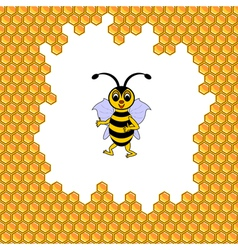 A funny cartoon bee surrounded by honeycombs vector