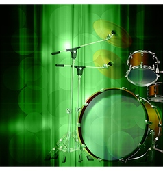 abstract green music background with drum kit vector image