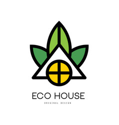 abstract linear logo of eco house clean vector image