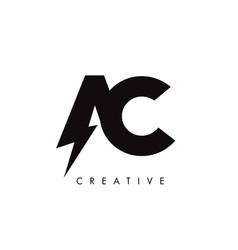 Ac letter logo design with lighting thunder bolt vector