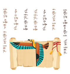 Ancient egypt papyrus scroll decorated red cord vector