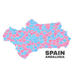 Andalusia province map - mosaic of love hearts vector