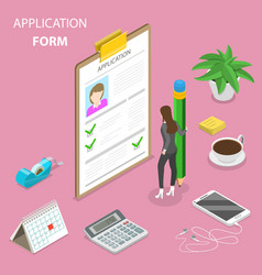 Application form flat isometric concept vector