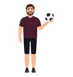 Bearded soccer player holding a soccer ball an vector
