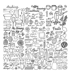 big food sketch set doodle drawings of food vector image