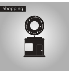 Black and white style icon donut shop vector