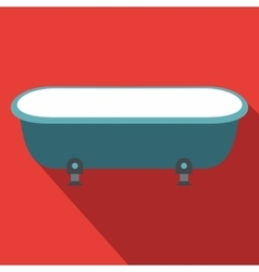 Blue bathtub flat design vector image