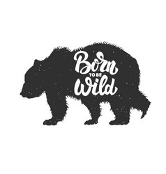 born to be wild silhouette grizzly bear on vector image