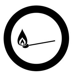 Burning match icon black color in circle or round vector