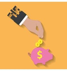 business hand saving money in piggy bank vector image