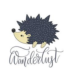 cartoon nature card with a nice hedgehog vector image