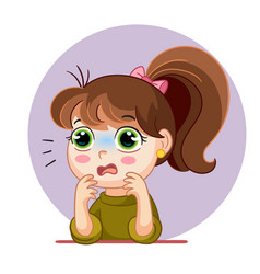 cartoon scared girl face emotion vector image