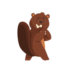 cartoon scheming beaver with brown fur little vector image