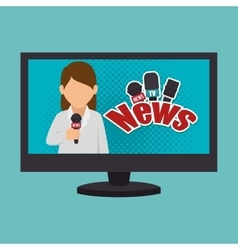 Cartoon tv news reporter woman graphic vector