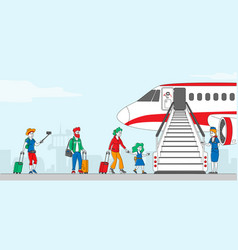 Characters boarding on airplane people stand vector