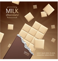 Chocolate package bar blank - white pieces vector