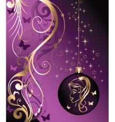 Christmas card with girl vector image