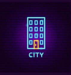 city neon label vector image
