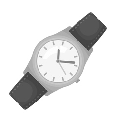 Classic wrist watch icon in monochrome style vector