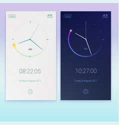 clock application concept of contrast ui design vector image