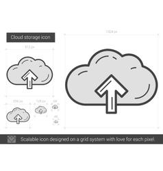 Cloud storage line icon vector