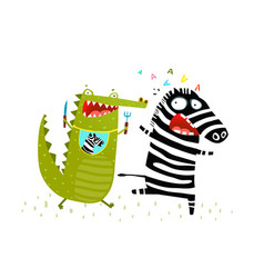 crocodile chasing zebra funny run vector image