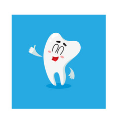 cute and happy shiny white tooth character showing vector image
