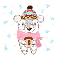 cute bear huge hugs vector image