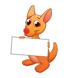 Cute cartoon kangaroo joey holding blank sign vector