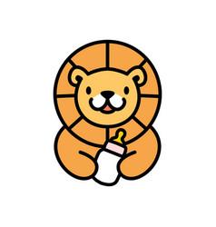 cute lion baby milk bottle cartoon playful logo vector image