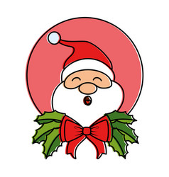 cute santa claus with bow character vector image