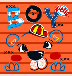 Cute tiger boy head on striped background vector