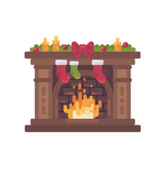Decorated christmas fireplace with stockings vector