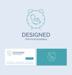 Delivery time baby birth child business logo line vector