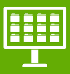 desktop of computer with folders icon green vector image