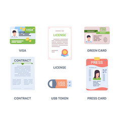 documents id immigrant or debit cards official vector image