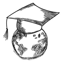 doodle graduation cap on earth vector image