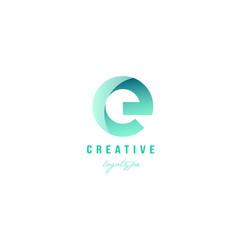 E green pastel gradient alphabet letter logo icon vector