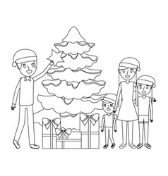 family decorating christmas tree and gift boxes vector image