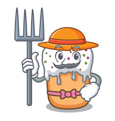 farmer easter cake character cartoon vector image