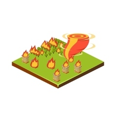 Fire and Tornado Natural Disaster Icon vector